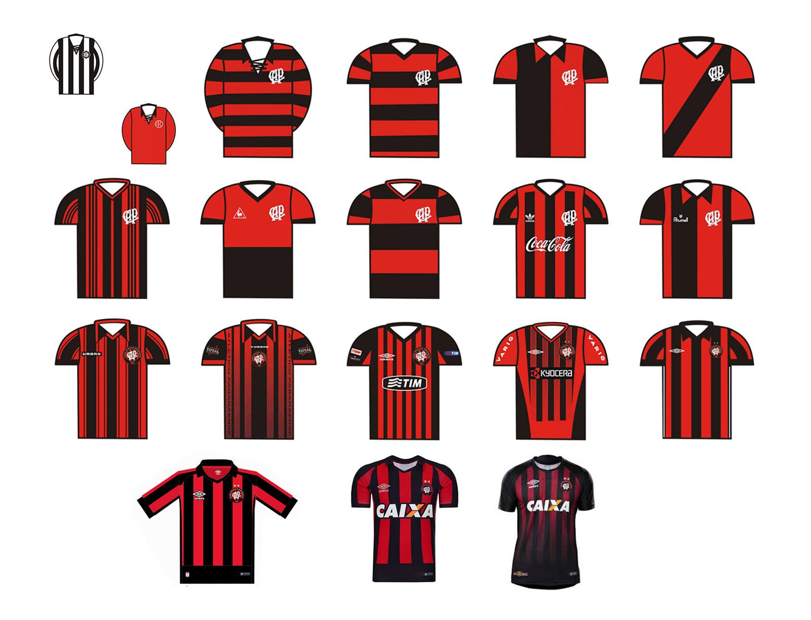 histórico de camisas oficiais do Club Athletico Paranaense - 1924-2018