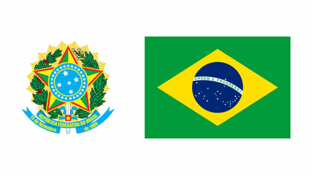 Brasão de armas e bandeira da República Federativa do Brasil